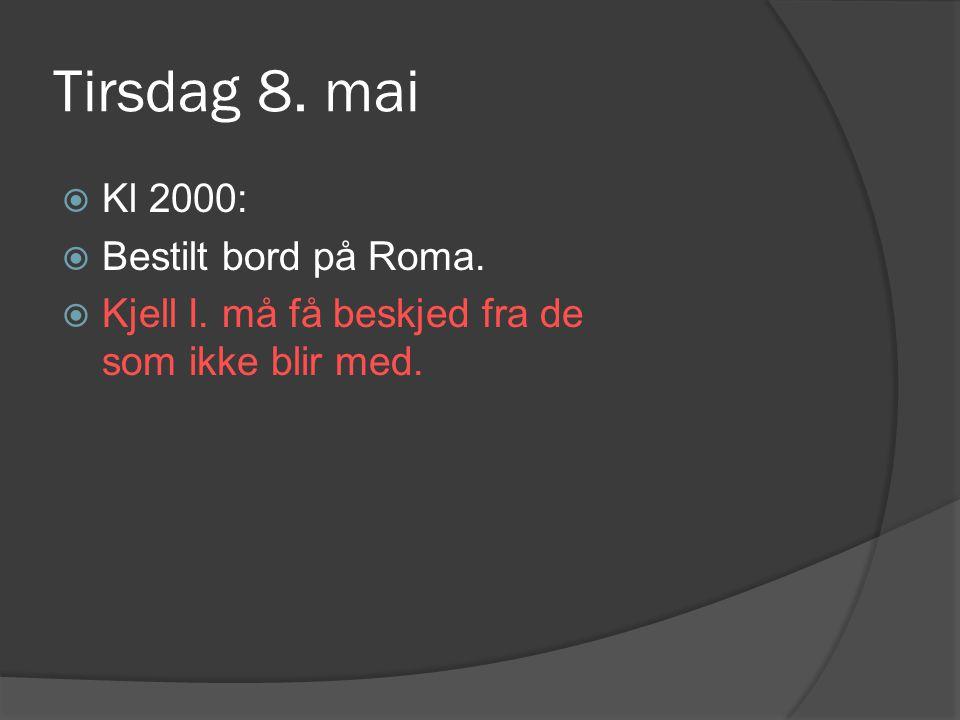 Tirsdag 8.mai  Kl 2000:  Bestilt bord på Roma.  Kjell I.