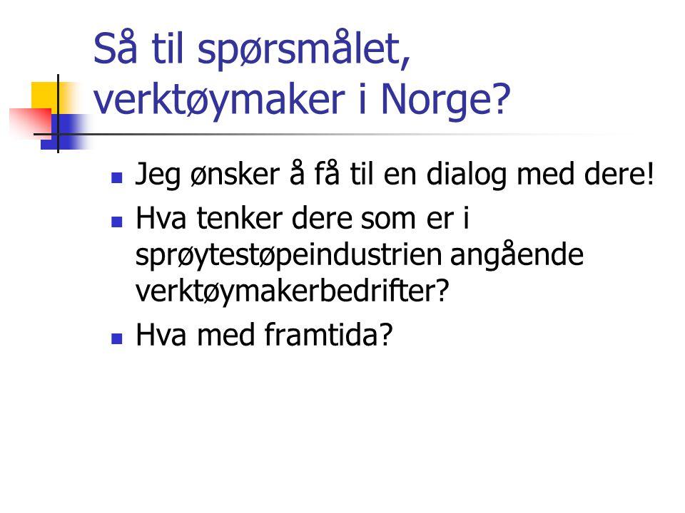 Så til spørsmålet, verktøymaker i Norge?  Jeg ønsker å få til en dialog med dere!  Hva tenker dere som er i sprøytestøpeindustrien angående verktøym