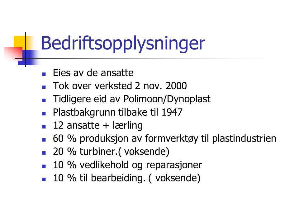 Bedriftsopplysninger  Eies av de ansatte  Tok over verksted 2 nov. 2000  Tidligere eid av Polimoon/Dynoplast  Plastbakgrunn tilbake til 1947  12