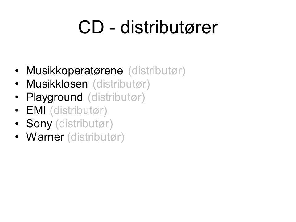 CD - distributører •Musikkoperatørene (distributør) •Musikklosen (distributør) •Playground (distributør) •EMI (distributør) •Sony (distributør) •Warner (distributør)