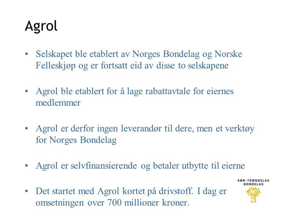 Agrol •Selskapet ble etablert av Norges Bondelag og Norske Felleskjøp og er fortsatt eid av disse to selskapene •Agrol ble etablert for å lage rabattavtale for eiernes medlemmer •Agrol er derfor ingen leverandør til dere, men et verktøy for Norges Bondelag •Agrol er selvfinansierende og betaler utbytte til eierne •Det startet med Agrol kortet på drivstoff.