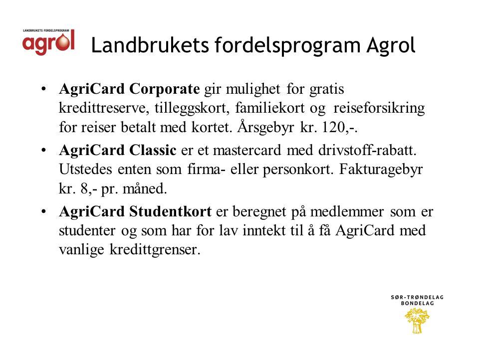 Landbrukets fordelsprogram Agrol •AgriCard Corporate gir mulighet for gratis kredittreserve, tilleggskort, familiekort og reiseforsikring for reiser betalt med kortet.
