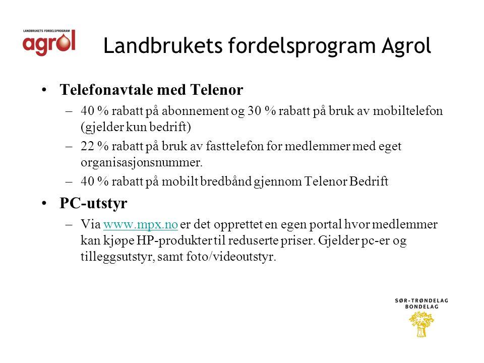 Landbrukets fordelsprogram Agrol •Telefonavtale med Telenor –40 % rabatt på abonnement og 30 % rabatt på bruk av mobiltelefon (gjelder kun bedrift) –22 % rabatt på bruk av fasttelefon for medlemmer med eget organisasjonsnummer.