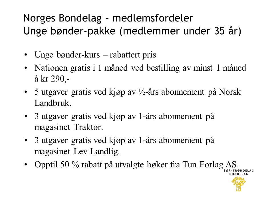 Norges Bondelag – medlemsfordeler Unge bønder-pakke (medlemmer under 35 år) •Unge bønder-kurs – rabattert pris •Nationen gratis i 1 måned ved bestilling av minst 1 måned à kr 290,- •5 utgaver gratis ved kjøp av ½-års abonnement på Norsk Landbruk.