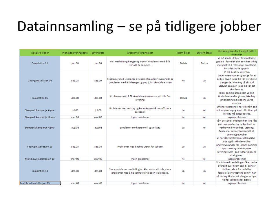 Datainnsamling – se på tidligere jobber