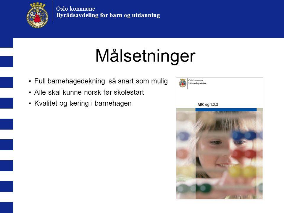 Oslo kommune Byrådsavdeling for barn og utdanning Målsetninger •Full barnehagedekning så snart som mulig •Alle skal kunne norsk før skolestart •Kvalitet og læring i barnehagen