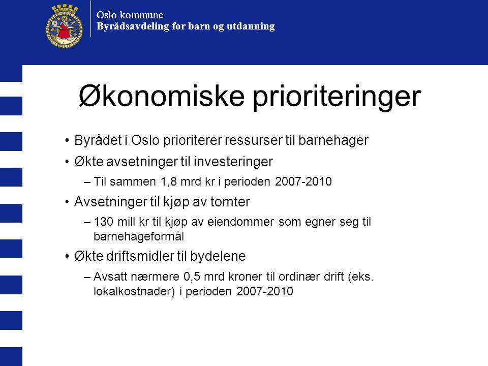 Oslo kommune Byrådsavdeling for barn og utdanning Økonomiske prioriteringer •Byrådet i Oslo prioriterer ressurser til barnehager •Økte avsetninger til