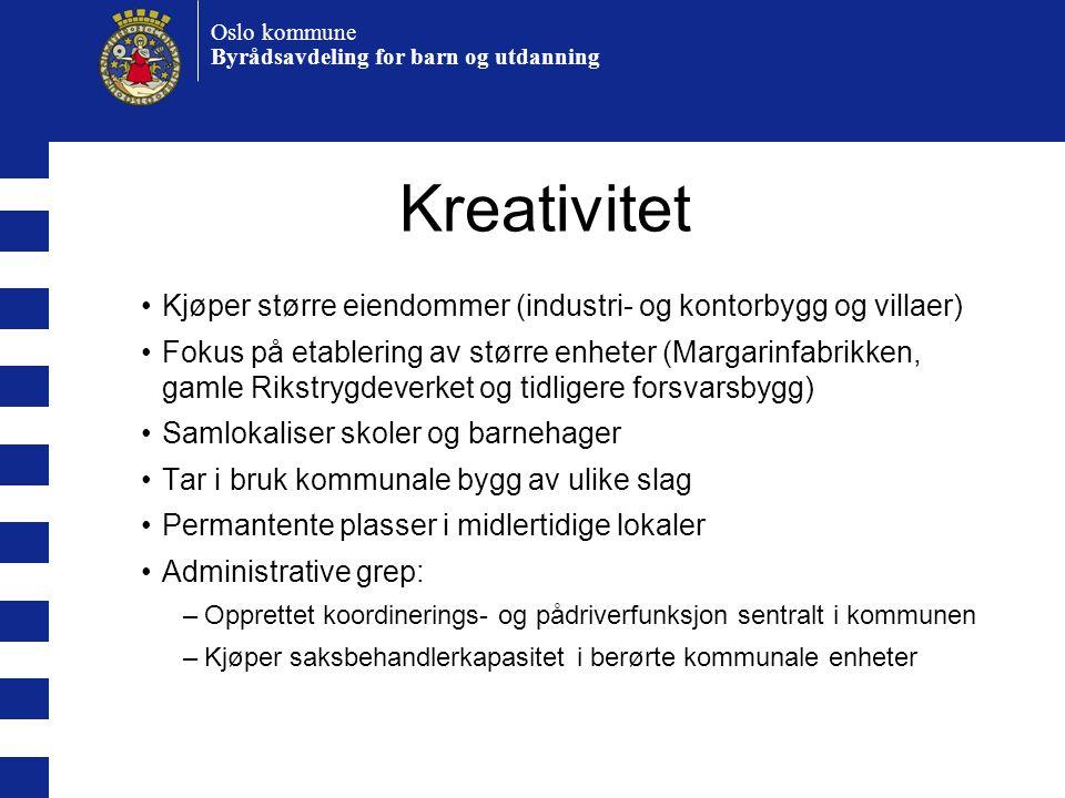 Oslo kommune Byrådsavdeling for barn og utdanning Kreativitet •Kjøper større eiendommer (industri- og kontorbygg og villaer) •Fokus på etablering av s