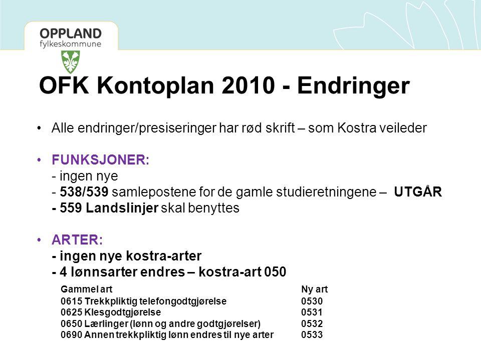 OFK Kontoplan 2010 - Endringer •Alle endringer/presiseringer har rød skrift – som Kostra veileder •FUNKSJONER: - ingen nye - 538/539 samlepostene for