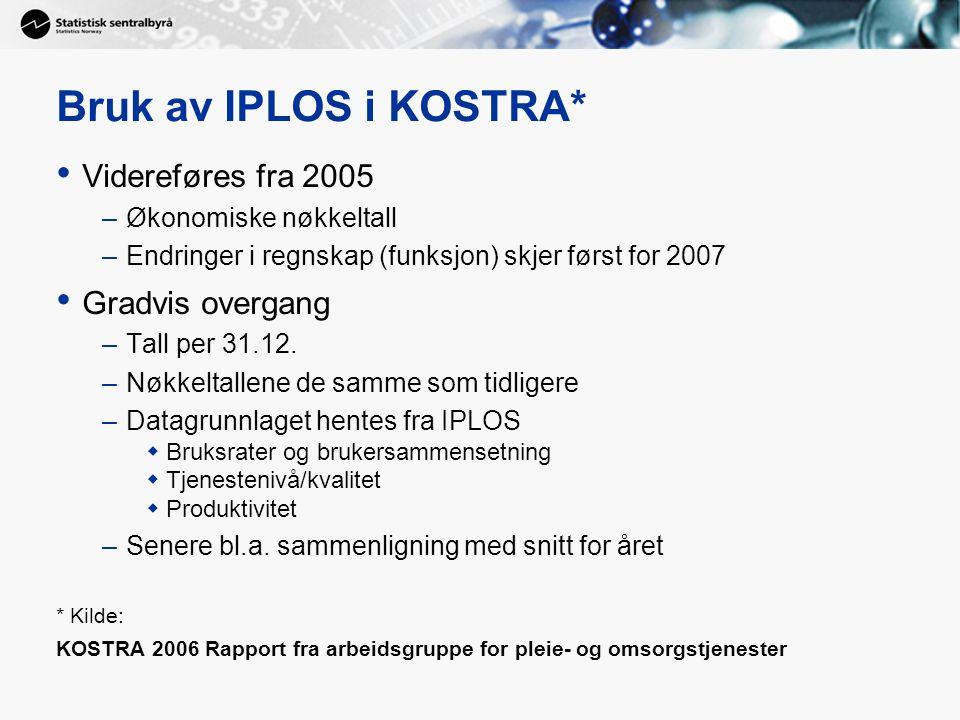Bruk av IPLOS i KOSTRA* • Videreføres fra 2005 –Økonomiske nøkkeltall –Endringer i regnskap (funksjon) skjer først for 2007 • Gradvis overgang –Tall per 31.12.