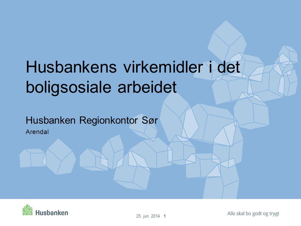 25. jun. 2014 1 Husbankens virkemidler i det boligsosiale arbeidet Husbanken Regionkontor Sør Arendal