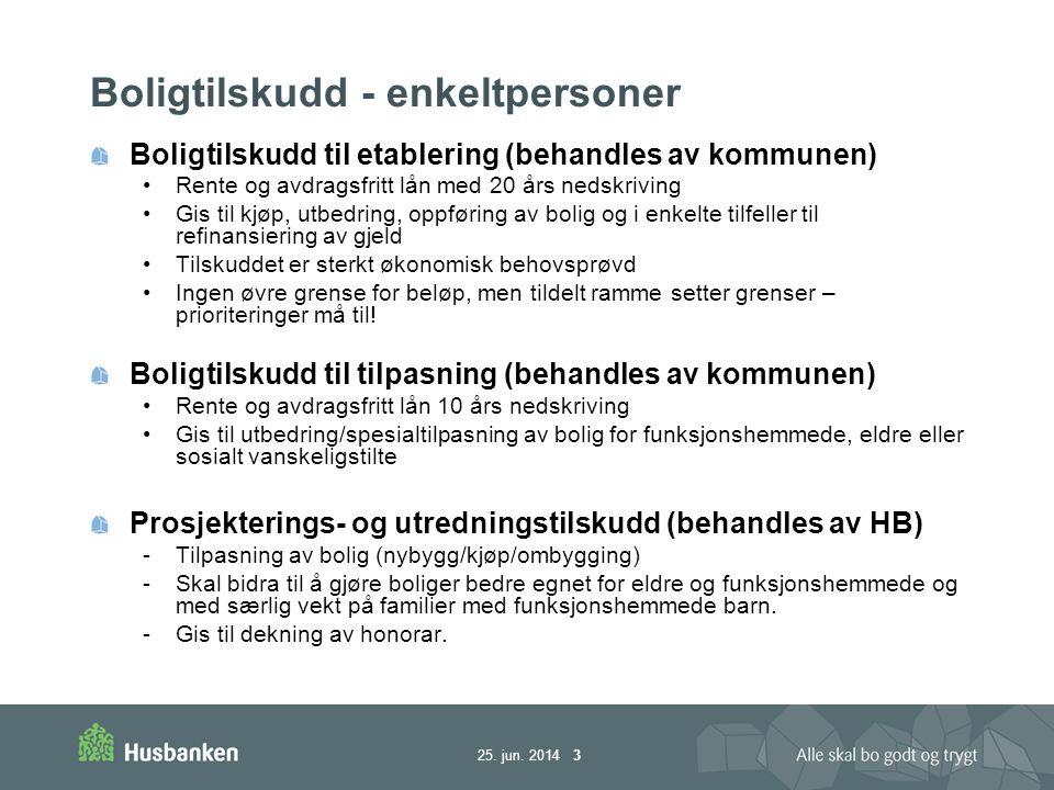 25. jun. 2014 3 Boligtilskudd - enkeltpersoner Boligtilskudd til etablering (behandles av kommunen) •Rente og avdragsfritt lån med 20 års nedskriving
