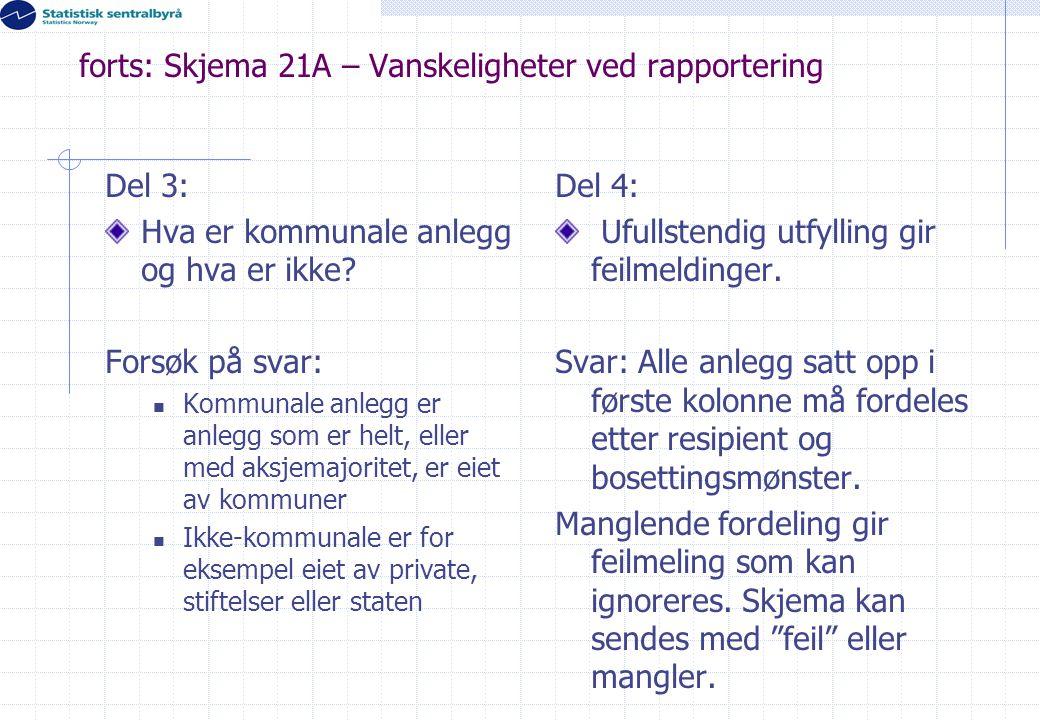 forts: Skjema 21A – Vanskeligheter ved rapportering Del 3: Hva er kommunale anlegg og hva er ikke? Forsøk på svar:  Kommunale anlegg er anlegg som er