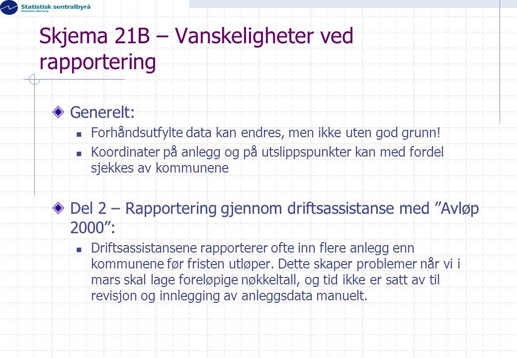 Skjema 21B – Vanskeligheter ved rapportering Generelt:  Forhåndsutfylte data kan endres, men ikke uten god grunn!  Koordinater på anlegg og på utsli