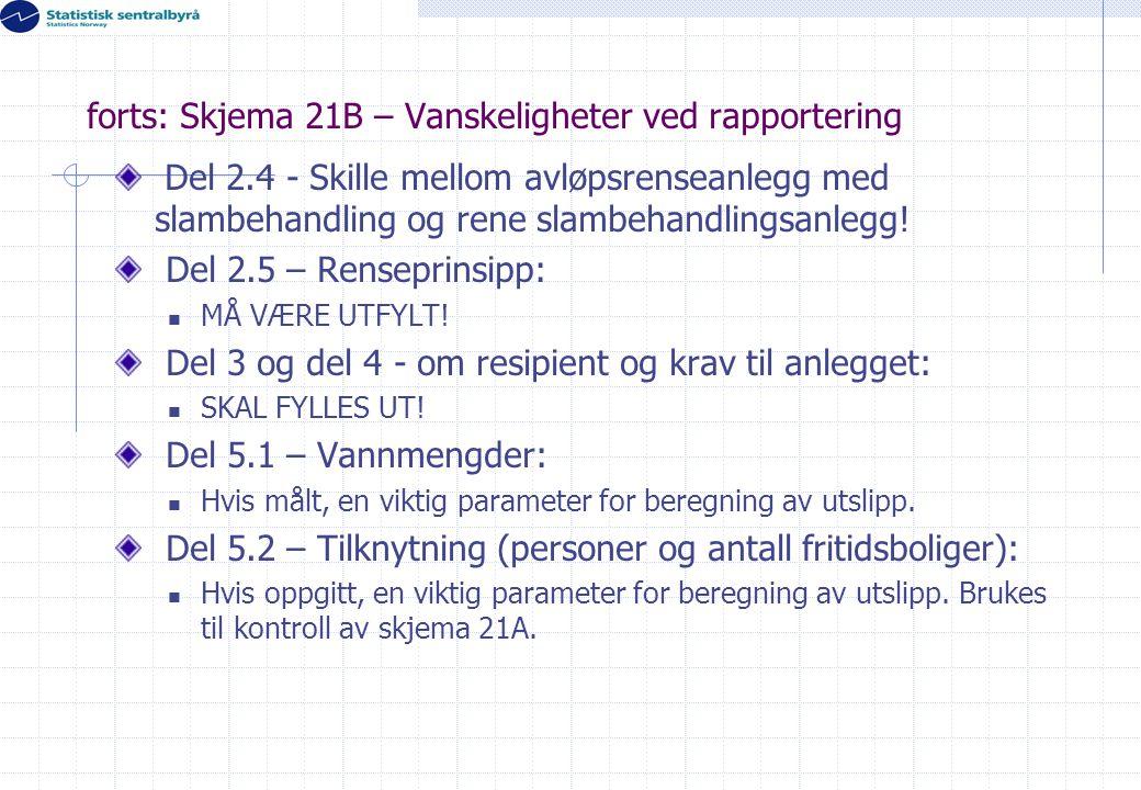 forts: Skjema 21B – Vanskeligheter ved rapportering Del 2.4 - Skille mellom avløpsrenseanlegg med slambehandling og rene slambehandlingsanlegg! Del 2.