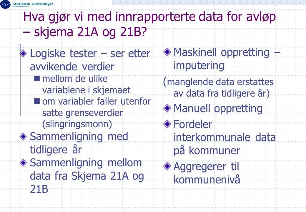 Hva gjør vi med innrapporterte data for avløp – skjema 21A og 21B? Logiske tester – ser etter avvikende verdier  mellom de ulike variablene i skjemae