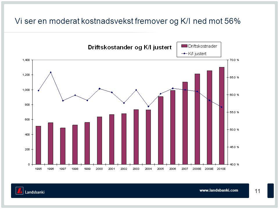 www.landsbanki.com 11 Vi ser en moderat kostnadsvekst fremover og K/I ned mot 56%