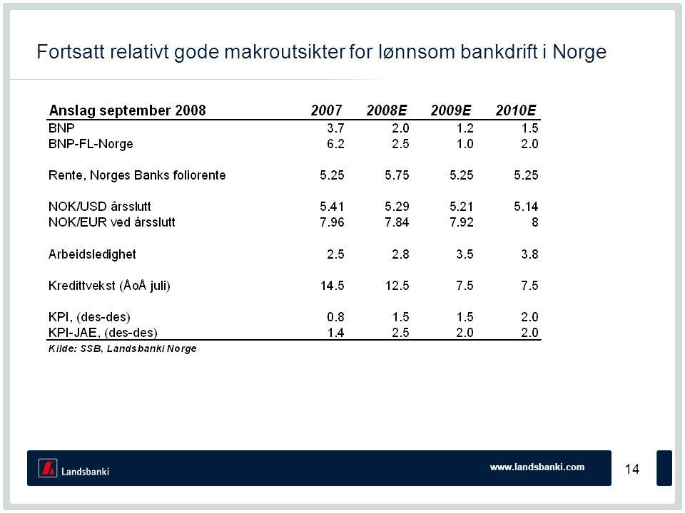 www.landsbanki.com 14 Fortsatt relativt gode makroutsikter for lønnsom bankdrift i Norge