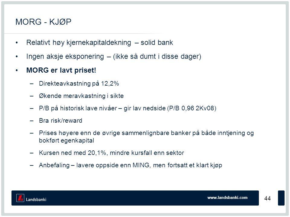 www.landsbanki.com 44 MORG - KJØP •Relativt høy kjernekapitaldekning – solid bank •Ingen aksje eksponering – (ikke så dumt i disse dager) •MORG er lavt priset.