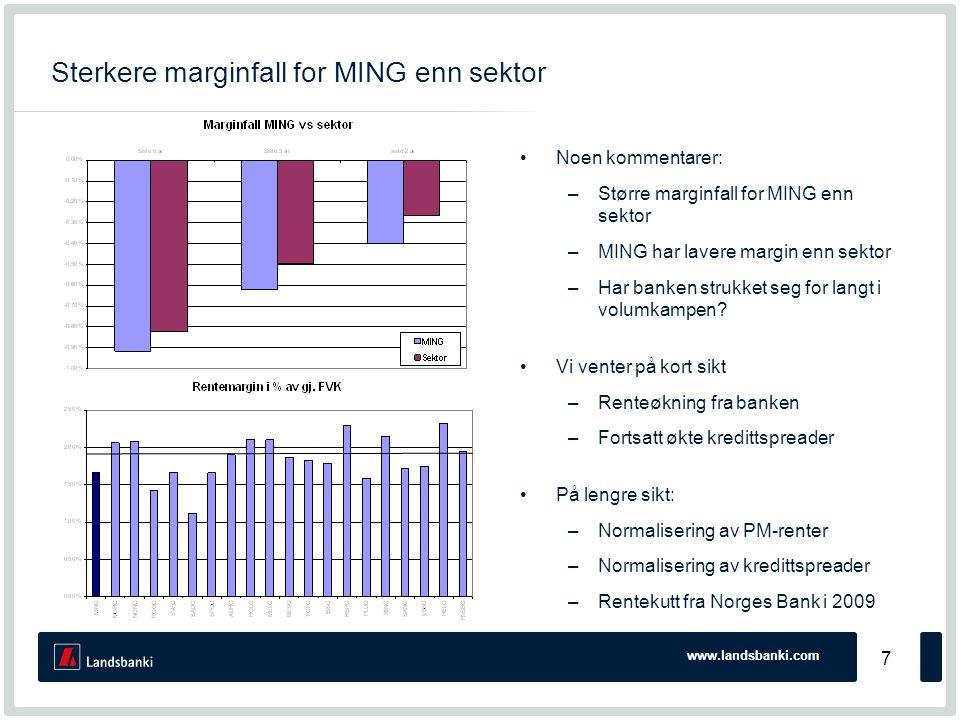 www.landsbanki.com 7 Sterkere marginfall for MING enn sektor •Noen kommentarer: –Større marginfall for MING enn sektor –MING har lavere margin enn sektor –Har banken strukket seg for langt i volumkampen.