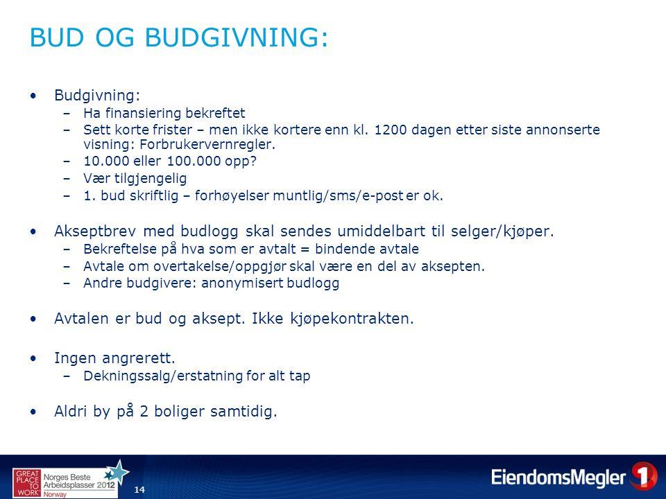 14 BUD OG BUDGIVNING: •Budgivning: –Ha finansiering bekreftet –Sett korte frister – men ikke kortere enn kl.