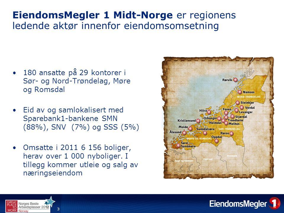 4 Markedsandeler på eiendomsmegling i Midt-Norge i 2011