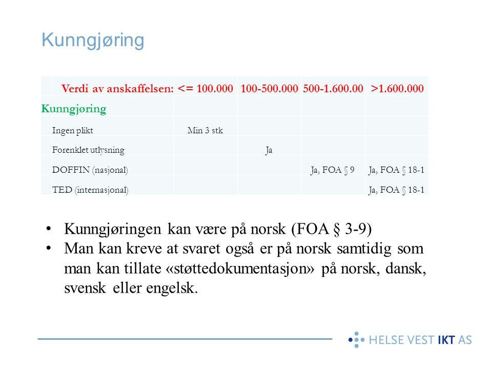 Kunngjøring Verdi av anskaffelsen:<= 100.000100-500.000500-1.600.00>1.600.000 Kunngjøring Ingen pliktMin 3 stk Forenklet utlysningJa DOFFIN (nasjonal)