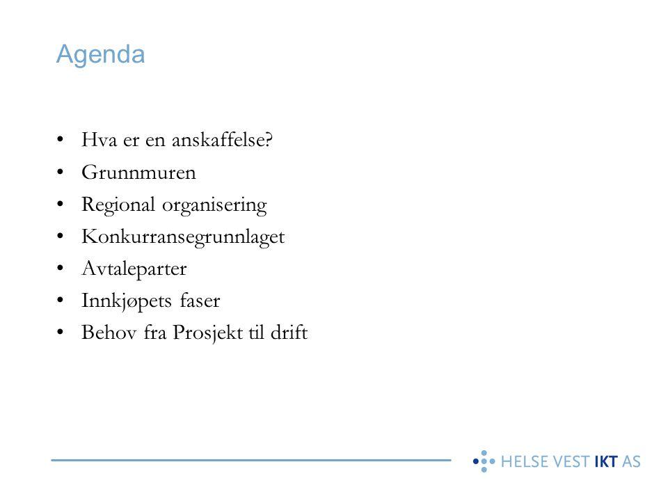 Agenda •Hva er en anskaffelse? •Grunnmuren •Regional organisering •Konkurransegrunnlaget •Avtaleparter •Innkjøpets faser •Behov fra Prosjekt til drift