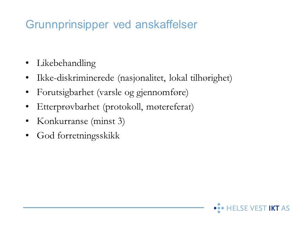 Grunnmuren for anskaffelser •Lov om Offentlige Anskaffelser (LOA) •Forskrift om Offentlige Anskaffelser (FOA) –Del 1 – 3 •St.meld.nr.36 (2008-2009) «Det gode innkjøp» •Innkjøpsstrategi i Helse Vest IKT •Innkjøpshåndboken for Helse Vest IKT •Standard kjøpsvilkår for Helse Vest •Lov om kjøp (Kjøpsloven) Helse Vest IKT skal forvalte kategoriansvaret for «IKT- anskaffelser» i Helse Vest