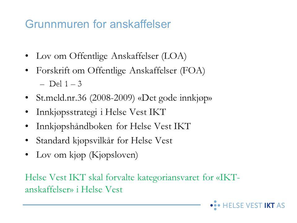 Grunnmuren for anskaffelser •Lov om Offentlige Anskaffelser (LOA) •Forskrift om Offentlige Anskaffelser (FOA) –Del 1 – 3 •St.meld.nr.36 (2008-2009) «D