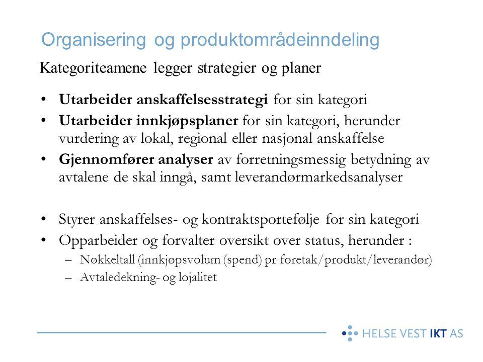 Organisering og produktområdeinndeling •Utarbeider anskaffelsesstrategi for sin kategori •Utarbeider innkjøpsplaner for sin kategori, herunder vurderi