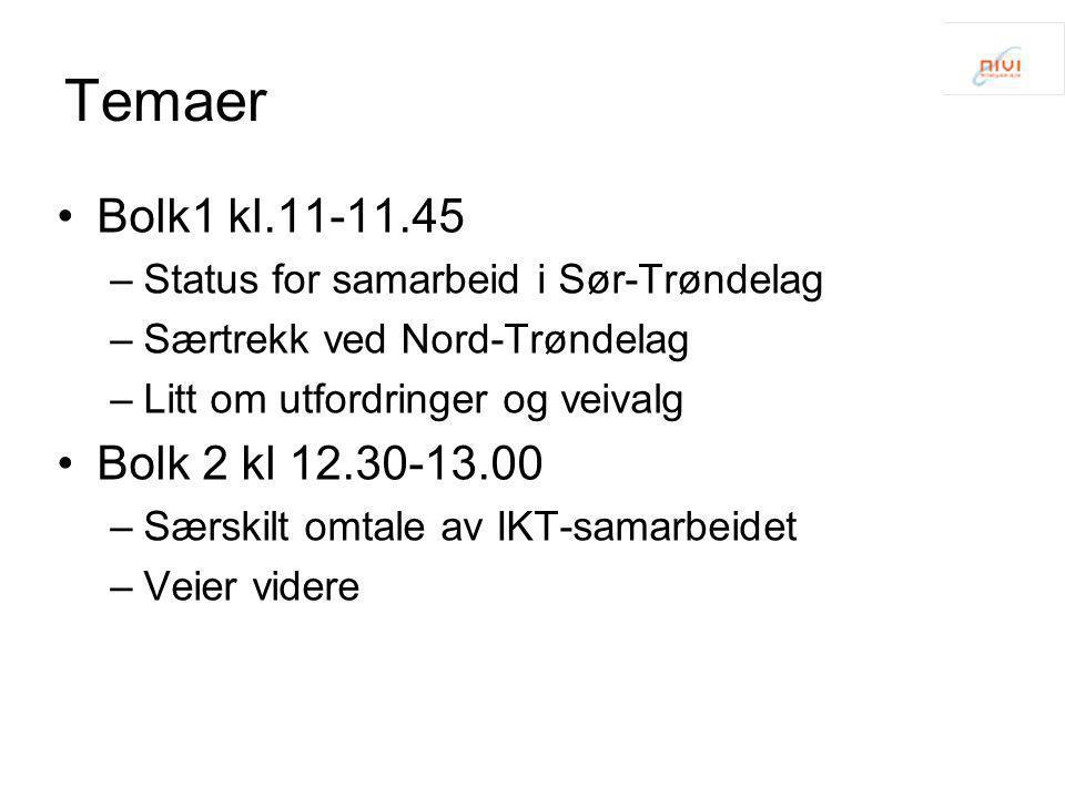 Temaer •Bolk1 kl.11-11.45 –Status for samarbeid i Sør-Trøndelag –Særtrekk ved Nord-Trøndelag –Litt om utfordringer og veivalg •Bolk 2 kl 12.30-13.00 –