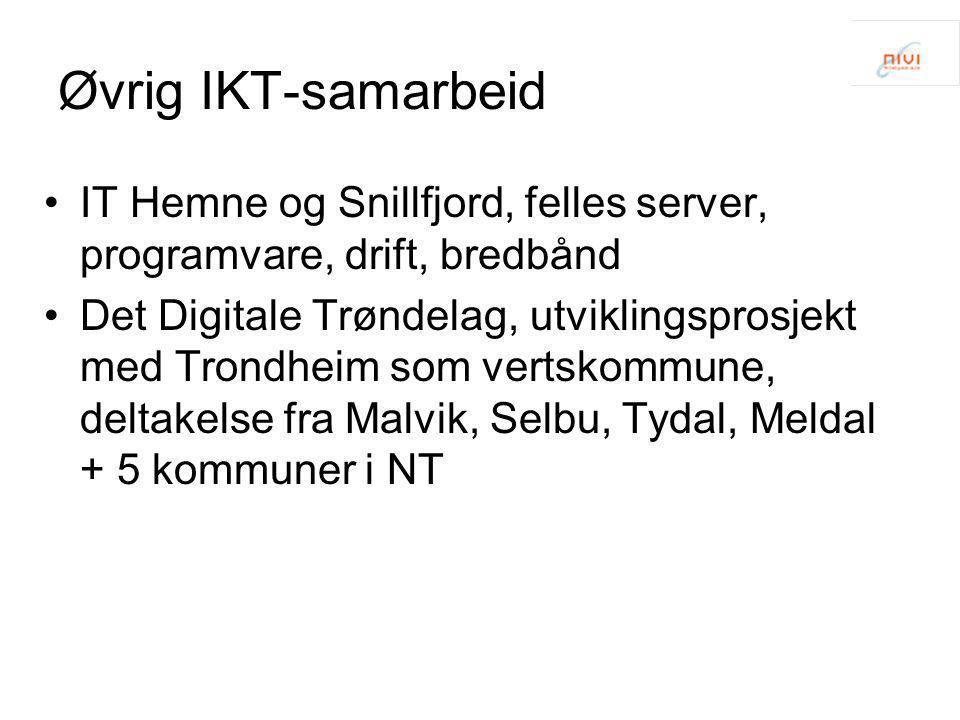 Øvrig IKT-samarbeid •IT Hemne og Snillfjord, felles server, programvare, drift, bredbånd •Det Digitale Trøndelag, utviklingsprosjekt med Trondheim som