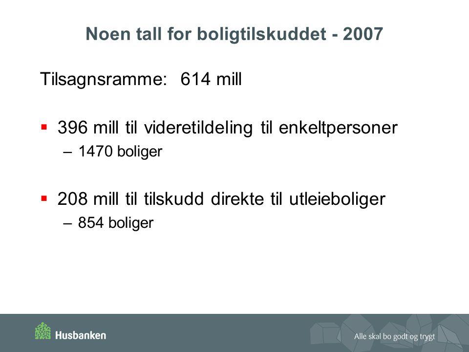 Noen tall for boligtilskuddet - 2007 Tilsagnsramme:614 mill  396 mill til videretildeling til enkeltpersoner –1470 boliger  208 mill til tilskudd direkte til utleieboliger –854 boliger
