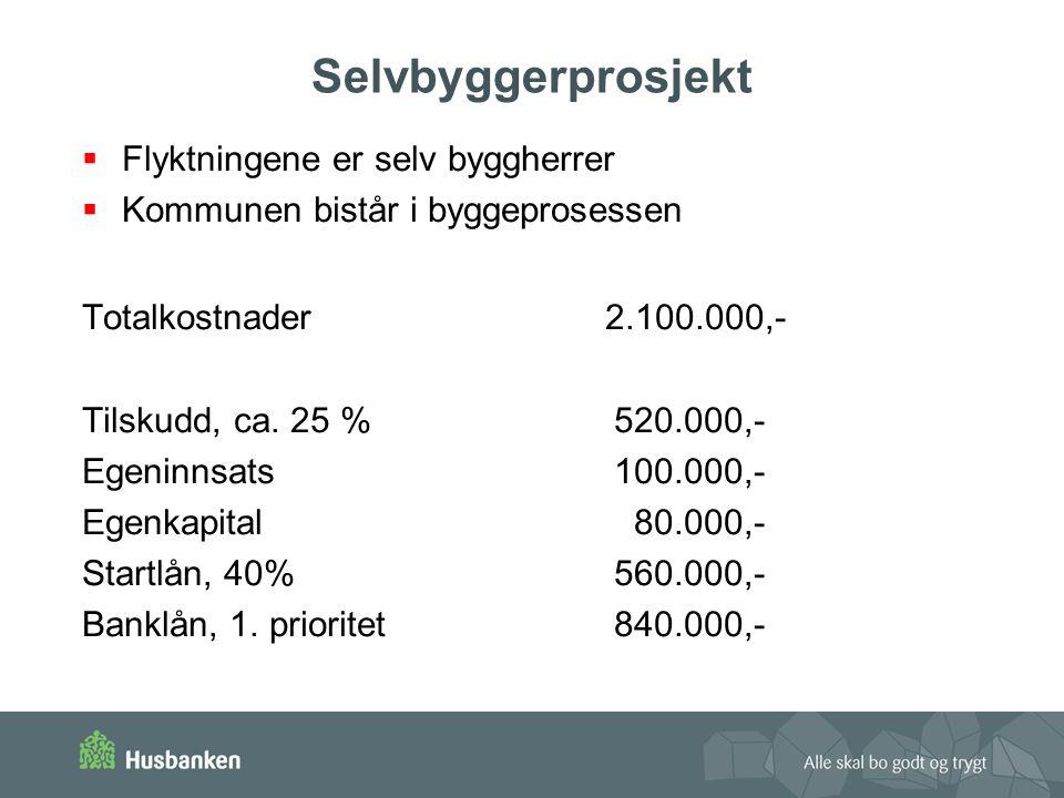 Selvbyggerprosjekt  Flyktningene er selv byggherrer  Kommunen bistår i byggeprosessen Totalkostnader 2.100.000,- Tilskudd, ca.
