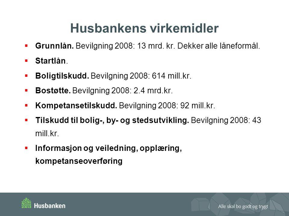 Husbankens virkemidler  Grunnlån.Bevilgning 2008: 13 mrd.