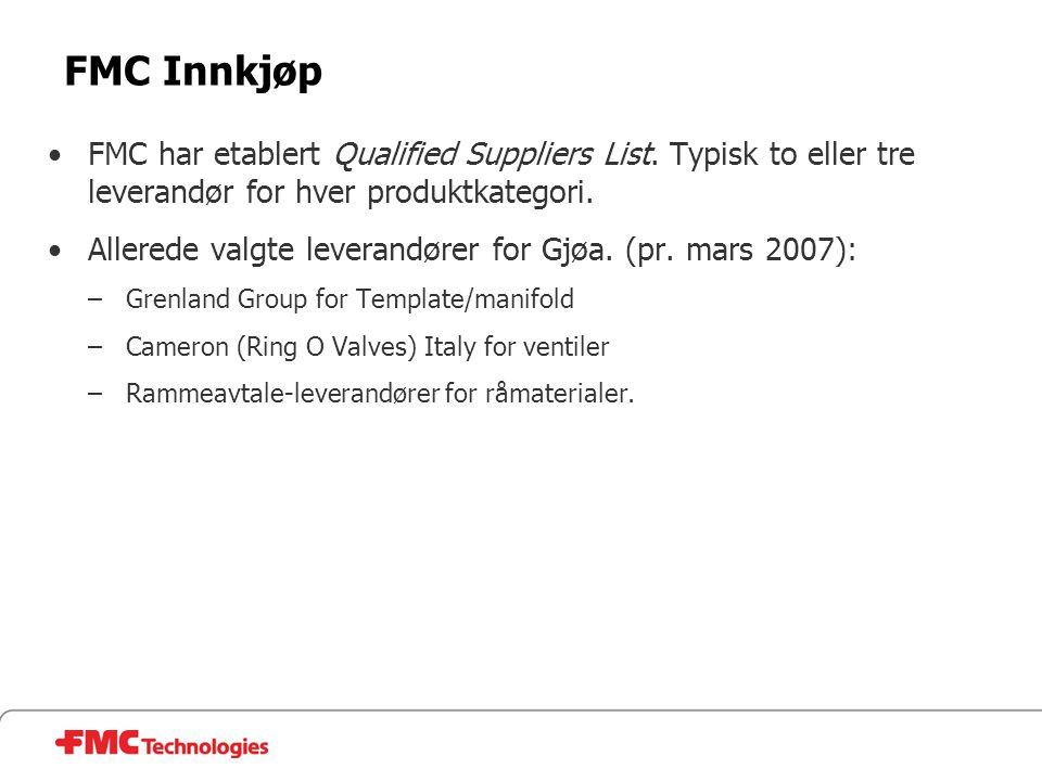 FMC Innkjøp •FMC har etablert Qualified Suppliers List. Typisk to eller tre leverandør for hver produktkategori. •Allerede valgte leverandører for Gjø