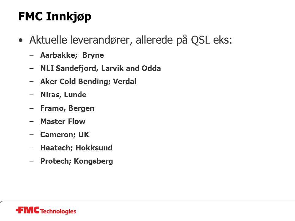 FMC Innkjøp •Aktuelle leverandører, allerede på QSL eks: –Aarbakke; Bryne –NLI Sandefjord, Larvik and Odda –Aker Cold Bending; Verdal –Niras, Lunde –F