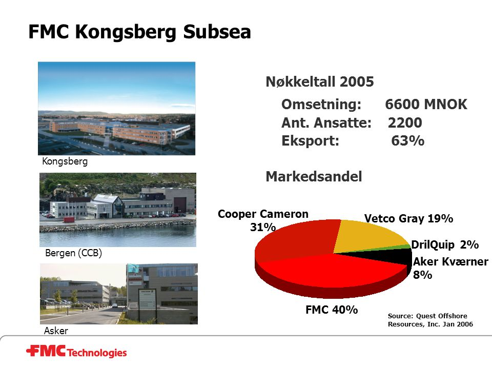 FMC Kongsberg Subsea Nøkkeltall 2005 Omsetning: 6600 MNOK Ant. Ansatte: 2200 Eksport: 63% Markedsandel Source: Quest Offshore Resources, Inc. Jan 2006