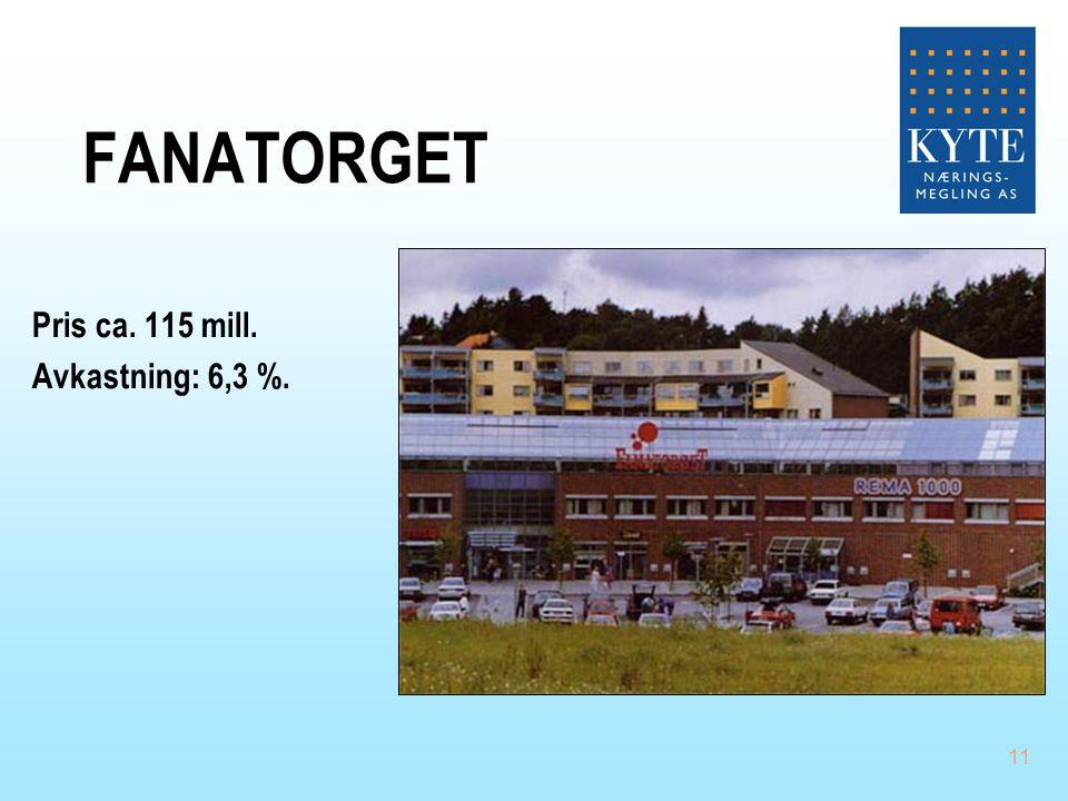11 FANATORGET Pris ca. 115 mill. Avkastning: 6,3 %.