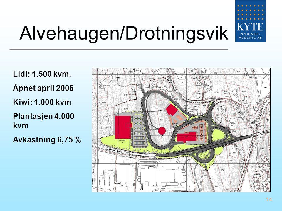 14 Alvehaugen/Drotningsvik Lidl: 1.500 kvm, Åpnet april 2006 Kiwi: 1.000 kvm Plantasjen 4.000 kvm Avkastning 6,75 %