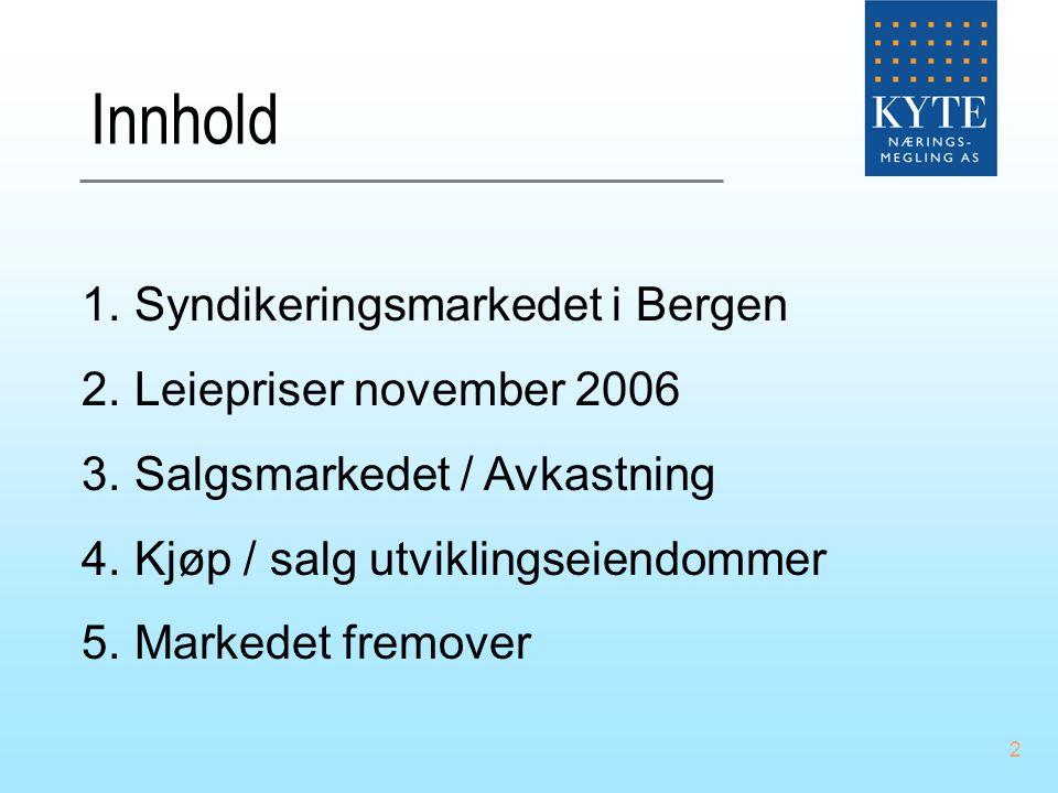 2 Innhold 1.Syndikeringsmarkedet i Bergen 2.Leiepriser november 2006 3.Salgsmarkedet / Avkastning 4.Kjøp / salg utviklingseiendommer 5.Markedet fremov
