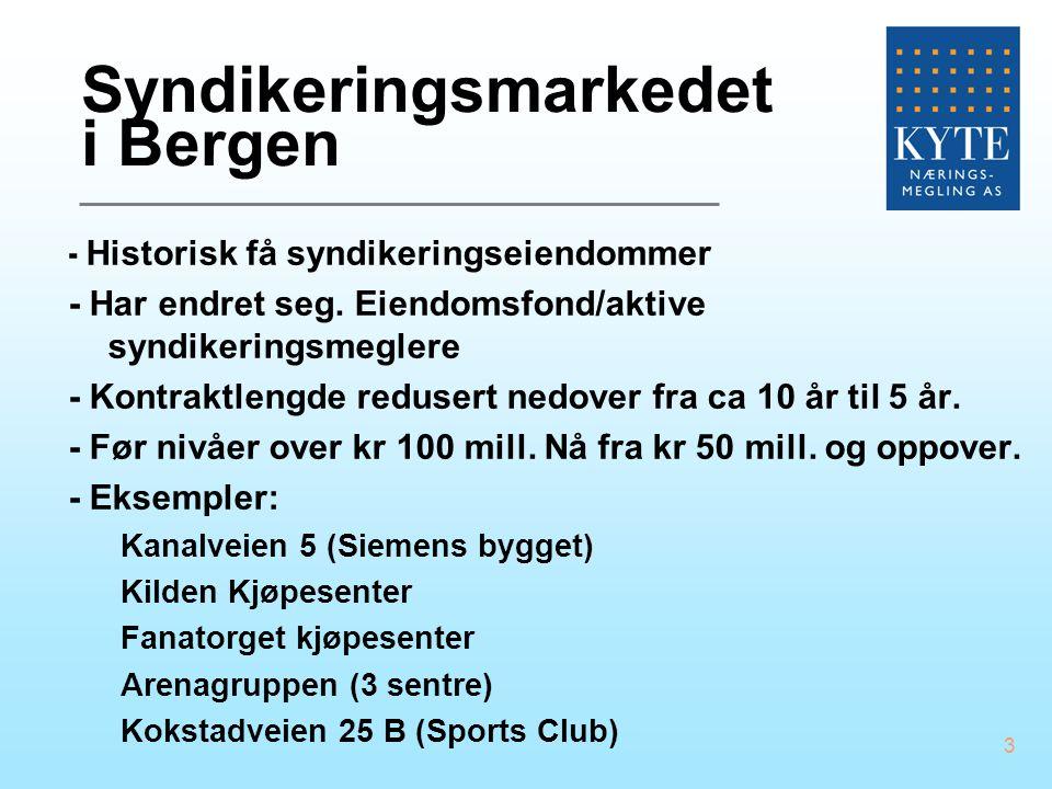 3 Syndikeringsmarkedet i Bergen - Historisk få syndikeringseiendommer - Har endret seg. Eiendomsfond/aktive syndikeringsmeglere - Kontraktlengde redus