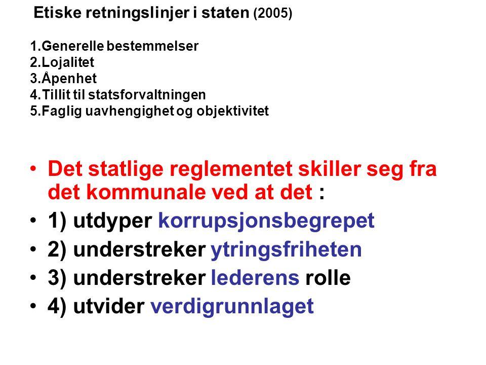 : Etiske retningslinjer i staten (2005) 1.Generelle bestemmelser 2.Lojalitet 3.Åpenhet 4.Tillit til statsforvaltningen 5.Faglig uavhengighet og objekt