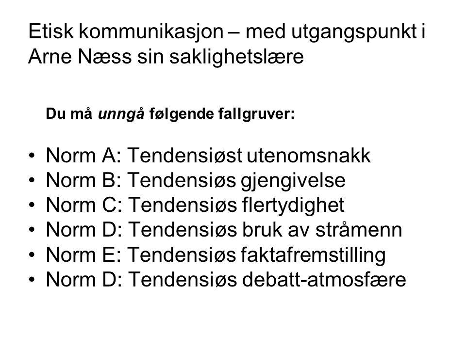 Etisk kommunikasjon – med utgangspunkt i Arne Næss sin saklighetslære Du må unngå følgende fallgruver: •Norm A: Tendensiøst utenomsnakk •Norm B: Tende