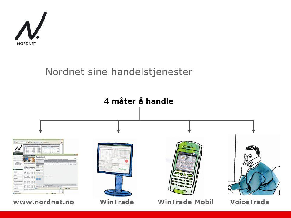 Nordnet sine handelstjenester 4 måter å handle www.nordnet.noWinTradeWinTrade MobilVoiceTrade