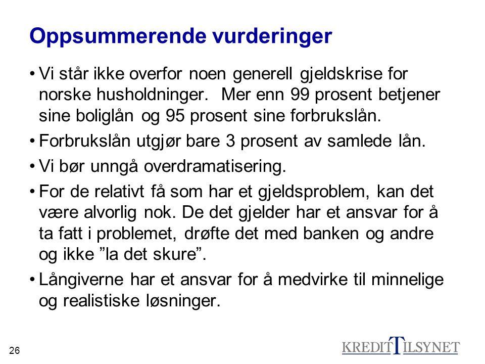 26 Oppsummerende vurderinger •Vi står ikke overfor noen generell gjeldskrise for norske husholdninger. Mer enn 99 prosent betjener sine boliglån og 95
