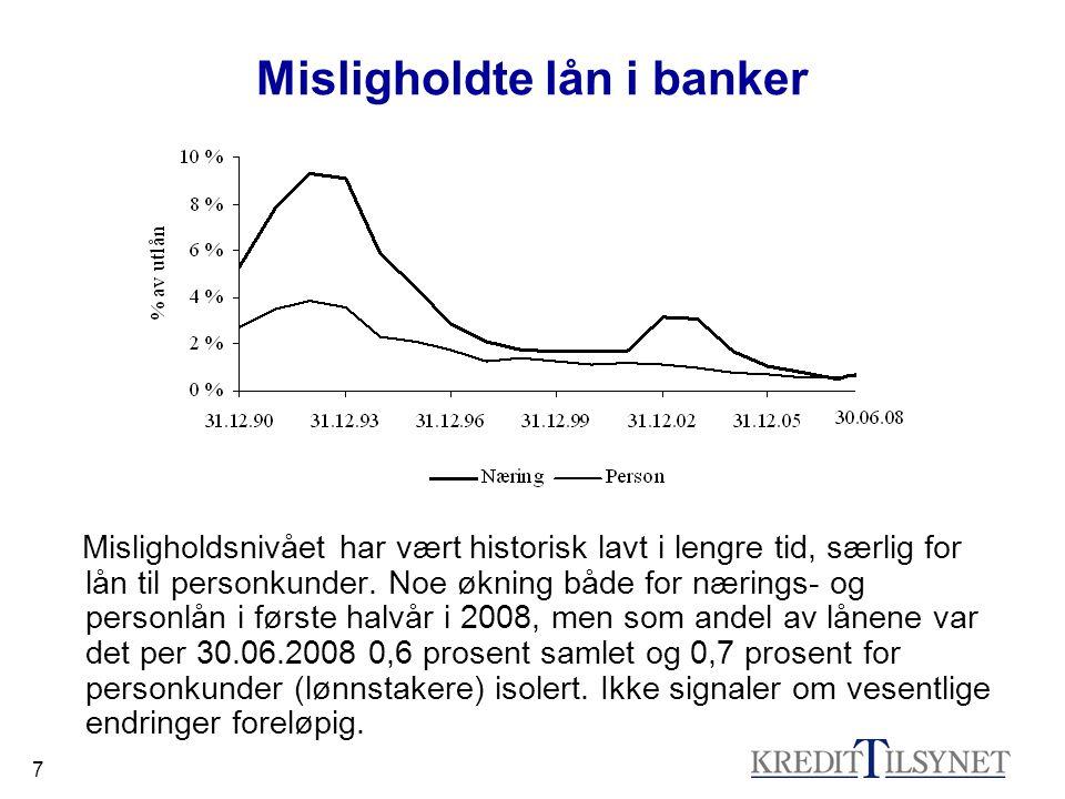 7 Misligholdte lån i banker Misligholdsnivået har vært historisk lavt i lengre tid, særlig for lån til personkunder. Noe økning både for nærings- og p