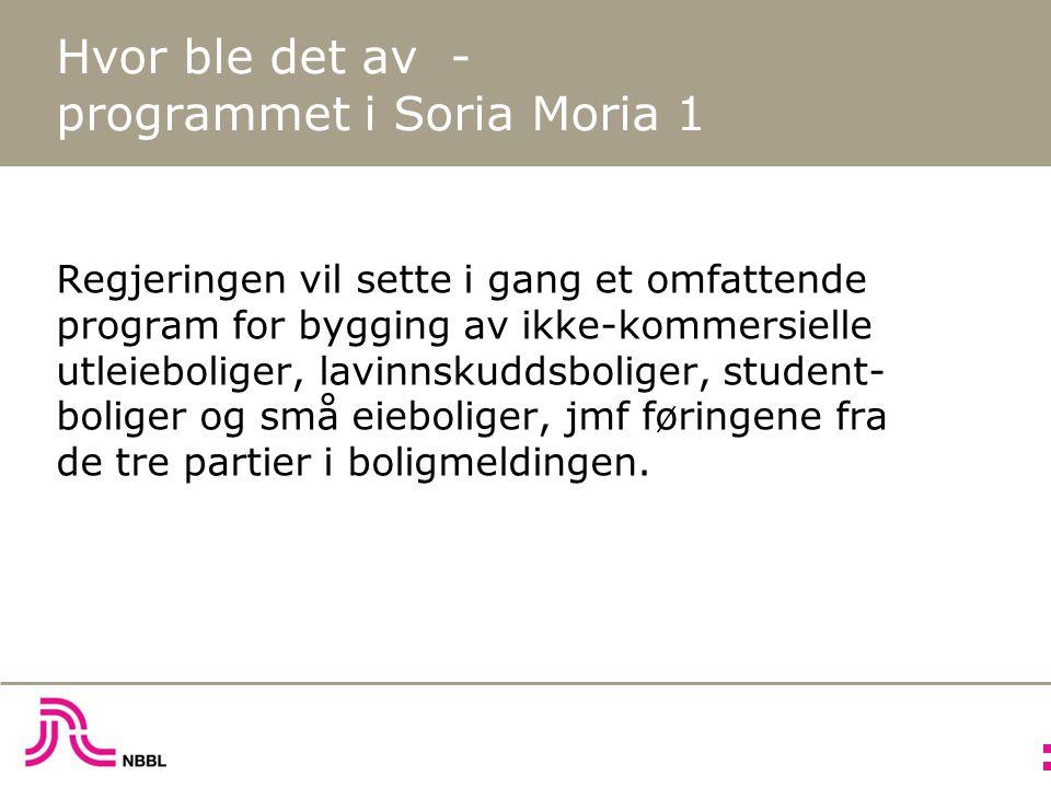 Hvor ble det av - programmet i Soria Moria 1 Regjeringen vil sette i gang et omfattende program for bygging av ikke-kommersielle utleieboliger, lavinnskuddsboliger, student- boliger og små eieboliger, jmf føringene fra de tre partier i boligmeldingen.