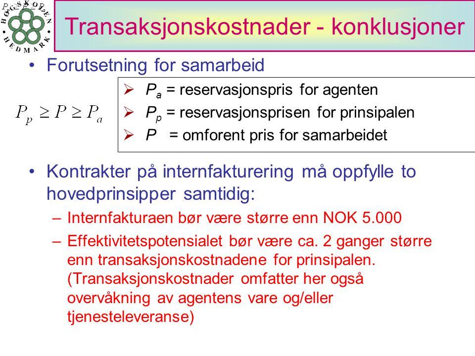 •Forutsetning for samarbeid •Kontrakter på internfakturering må oppfylle to hovedprinsipper samtidig: –Internfakturaen bør være større enn NOK 5.000 –